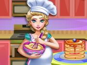 Elsa Baking Pancakes